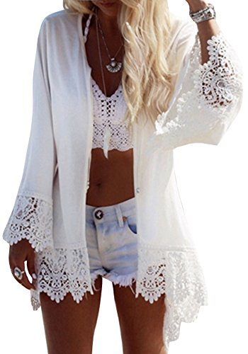 Eagle Dry Goods (Womens Chiffon Lace Bathing Suit Cover up Crochet Eagle Print Flare Sleeve Swimwear Cove-ups)
