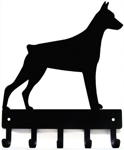 The Metal Peddler Doberman Key Rack/Dog Leash Hanger with 5 hooks - Small 6 inch wide by The Metal Peddler