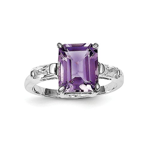 Amethyst Personalized Ring - ICE CARATS 925 Sterling Silver Purple Amethyst Band Ring Size 8.00 Stone Gemstone Fine Jewelry Gift Set For Women Heart
