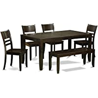 East West Furniture LYFD6-CAP-W 6-Piece Dining Room Table with Bench, Cappuccino Finish