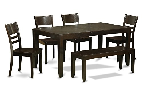 East West Furniture LYFD6-CAP-W 6-Piece Dining Room Table Bench, Cappuccino Finish, Wood Seat