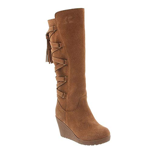 BearPaw Womens Britney Wedge Boot Hickory Size 9 (Womens Wedge Sheepskin Suede)