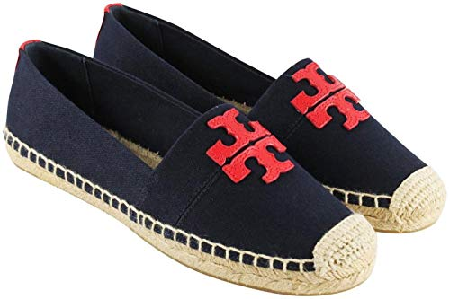 (Tory Burch Weston Flat Espadrille Canvas Calf Leather (7.5 M, Navy/Red))