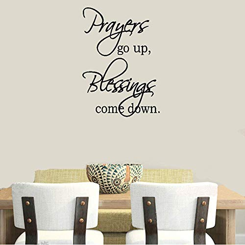 Peel and Stick Removable Wall Stickers Prayers Go Up Blessings Come Down for Living Room Bedroom Home Decor