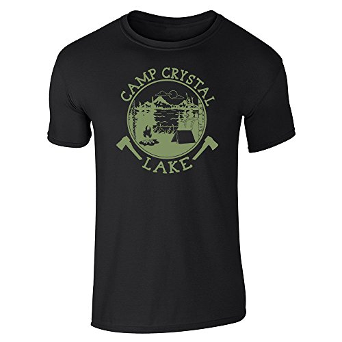 Pop Threads Camp Crystal Lake Counselor Shirt Costume Staff Black M Short Sleeve T-Shirt ()