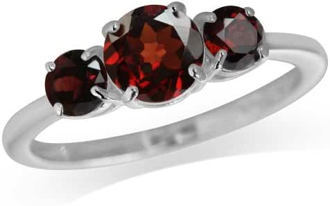 1.61ct. 3-Stone Natural Garnet 925 Sterling Silver Ring
