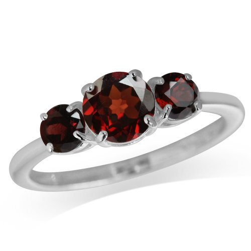 1.61ct. 3-Stone Natural Garnet 925 Sterling Silver Ring Size ()