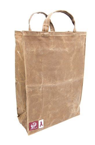 Olli Reusable Waxed Cotton Canvas Grocery Tote Bags - Organic and Vegan Shopping Bags Brown