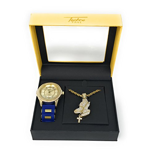Men's Hip Hop Gold & Blue Watch with Large Iced Out Praying Hands Pendant on Gold Rope Chain Gift Set