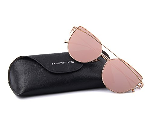 MERRYS Fashion Women Cateye Sunglasses UV Protection eye glasses Coating Mirror Flat Panel Lens UV400 S7882 (Pink 56)