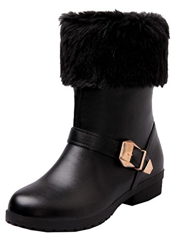 Black Booties Women's With Low Pull SHOWHOW Fluffy Buckle Fur Ankle Heel Snow On FxwO7U8q