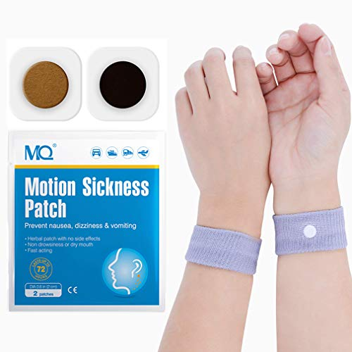 (MQ 14ct Sea Sickness Patches with 1 Pair of Anti-Nausea Wristbands - Relieves Nausea, Dizziness & Vomiting from Motion Sickness, Fast Acting and No Side Effects)