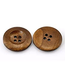 """HOUSWEETY 50PCs Coffee 4 Holes Round Wood Sewing Buttons 25mm(1"""") Dia."""