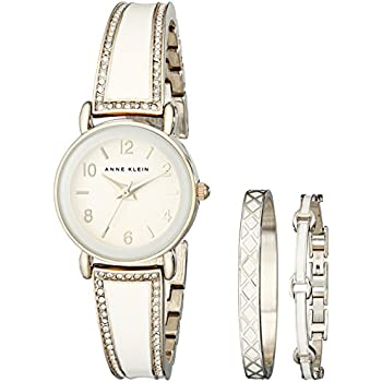 Anne klein women 39 s ak 2052ivst swarovski crystal stainless steel watch set anne for Anne klein swarovski crystals