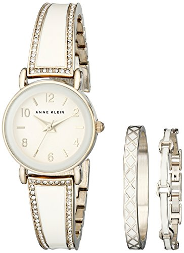 Anne Klein Womens AK2052IVST Swarovski Crystal Accented Gold-Tone and Ivory Bangle Watch and Bracelet Set