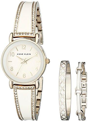 Anne Klein Women's AK/2052IVST Swarovski Crystal Stainless Steel Watch Set