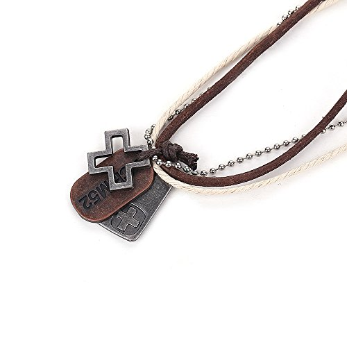 Vicheer Fashion Alloy Letter Cross Plate Leather Cord Necklace for Men