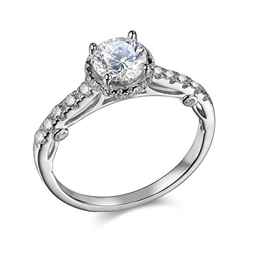 Newshe 1.2ct Round Cut Halo White Cz 925 Sterling Silver Wedding Engagement Ring Promise Size 10 by Newshe Jewellery
