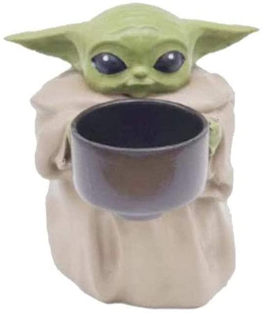 Baby Yoda Small Planter Pot, 4.2''The Child Holding Cup Creative Resin Ornament Flower Pot with Hole, Decorative Garden, Christmas Birthday Gift Home Decor