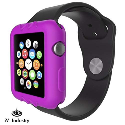 - Case Compatible with Apple Watch 38mm Royal Purple Series 3 Series 2 & 1 - Resilient Shock Resistant Ultra Slim Protective Bumper Cover for iWatch Soft Silicone Sports Case by iV Industry