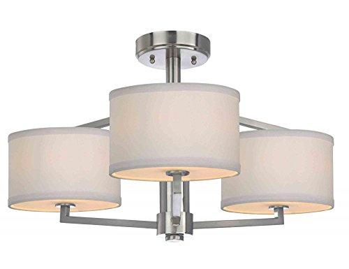 Dolan Designs 3 Light (Dolan Designs 1885-09 Monaco 3 Light Semi Flush mount, Satin Nickel)