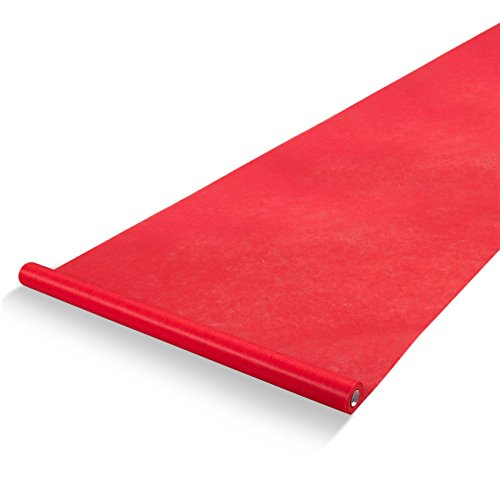 Blue Panda Red Carpet Runner - Essential Indoor or Outdoor Wedding Decoration - Great Aisle Runner for Parties, Red, 3 x 50 Feet