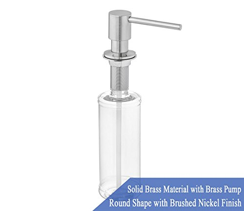 Solid Brass Kitchen Soap (Built in Round Solid Brass Pump Deck Mount Modern Hand / Dish Soap Dispenser Stainless Steel Brushed Nickel – All Metal Construction - 13 OZ Capacity Bottle – Easy Refill From Top)