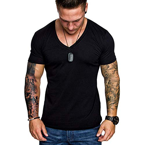 Men's T-Shirts Casual Slim Fit Short Sleeve V Neck Solid Color Sexy Shirt Top Blouse (L, Black)