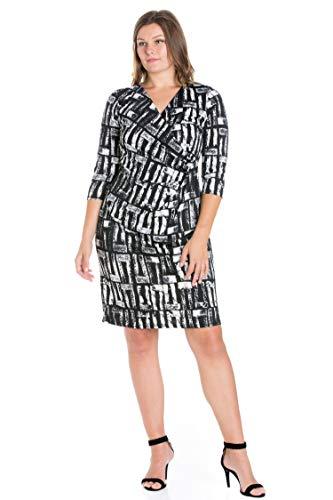 24seven Comfort Apparel Women's Plus Size Geometric Print 3/4 Sleeve Draped V Neck Figure Flattering Dress - Made in USA - 3X-Large - Black and White