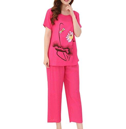 Damas Verano De Tamaño Grande Suave Sudor Casual Traje De Dos Piezas Conjunto De Pijama 04