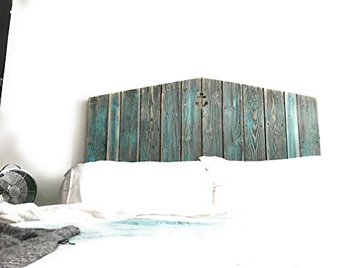 (Grey and Teal reclaimed wood coastal anchor cutout headboard)