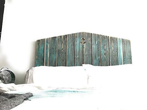 Grey and Teal reclaimed wood coastal anchor cutout headboard