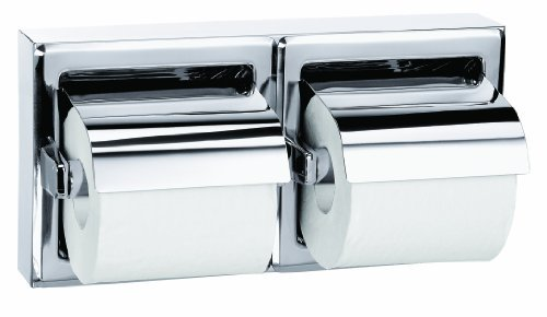 Bradley 5126-000000 Stainless Steel Surface Mounted Hinged Hood Dual Roll Toilet Tissue Dispenser, 12-5/8 Width x 6-3/8 Height x 2 Depth by Bradley