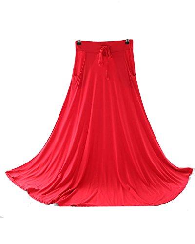 Femme Casual Retro Une Jupe Longue Swing Cordelette Fluide Maxi Jupe Rouge