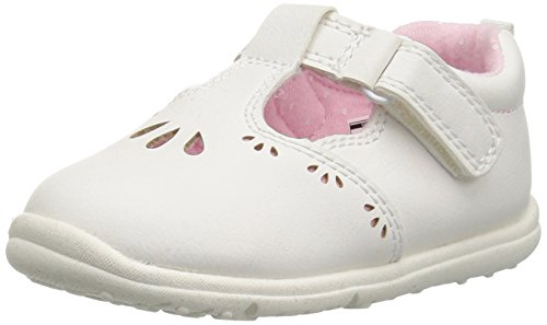(Carter's Every Step Girls' Bella Baby T-Strap Mary Jane Flat, White, 4 M US Toddler)