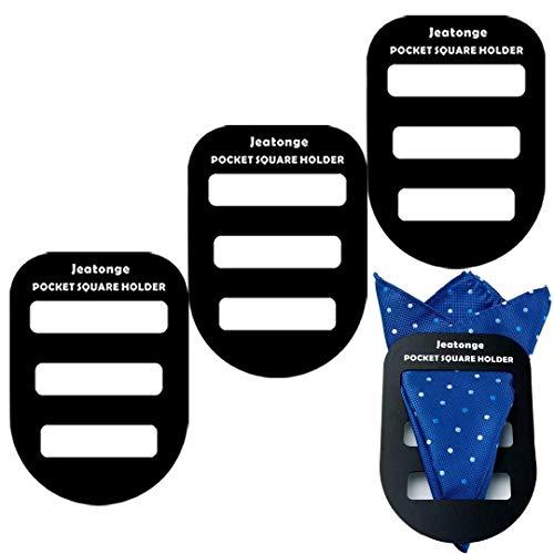 Jeatonge Pocket Square Holder Keeper Organizer Pocket Squares for Men Prefolded (Holder 3 Pcs)