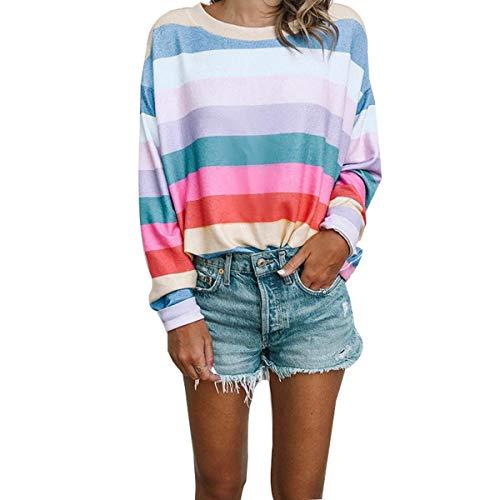 Asskdan Women's Long Sleeve Blouse Rainbow Color Stripe Crew Neck Pullover Sweatshirts Loose T-Shirt Tops Sweaters (Rainbow T-shirt Sweatshirt)