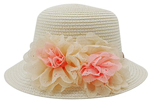 Summer Baby Girl Half a Flanging Straw Hat Beach Sun Cap with Two Flowers,White