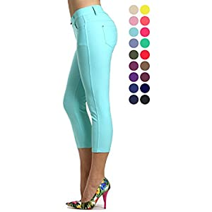 Prolific Health Capri Women's Jean Look Jeggings Tights Slimming Many Colors Spandex Leggings Pants (Small, Turquoise)