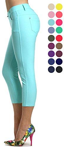 Prolific Health Women's Jean Look Jeggings Tights Slimming Many Colors Spandex Leggings Pants Capri S-XXXL (XXX-Large, Turquoise Capri)