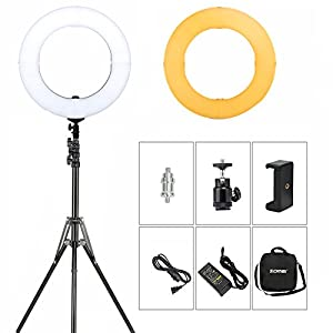 LED Ring Light 14 Inch Makeup Light 41W Dimmable Photography Lights (With Stand) Youtube Video Photo Shoot Lighting Studio Soft Lights Compatible With Camera Smartphone iPad By ZOMEI