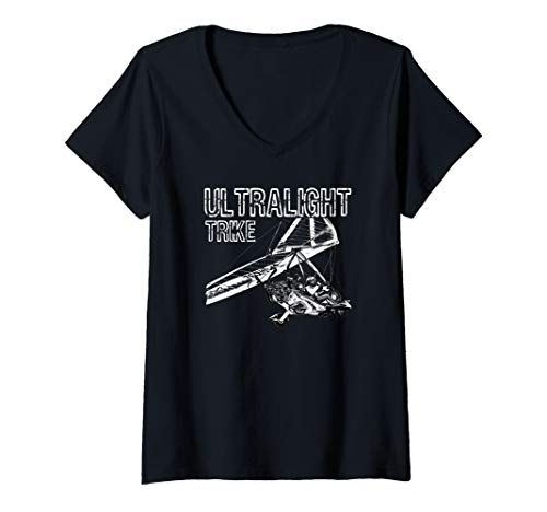 Womens Micro Light Aircraft Ultralight Trike V-Neck T-Shirt