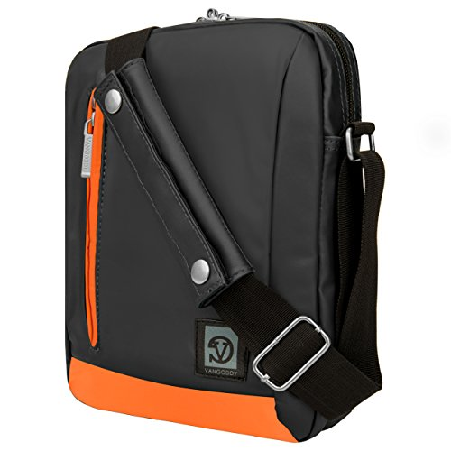 VanGoddy Laptop Bag Tablet Shoulder Case (Grey/Orange) For iRulu eXpro X1a 9