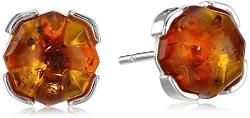 Sterling Silver Honey Amber Prong Stud Earrings - Sterling Silver Honey