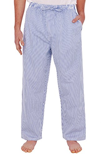 Alexander Del Rossa Mens Cotton Pajama Pants, Long Woven PJ Bottoms, Medium Blue Striped (A0696R16MD) - Stripe Pajama Pants Sleepwear