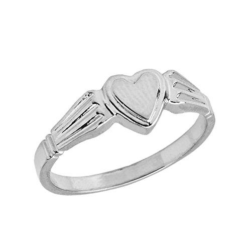 Elegant Sterling Silver Ladies Solid Heart-Shaped Signet Ring (Size 5.5) - Heart Shaped Signet Ring