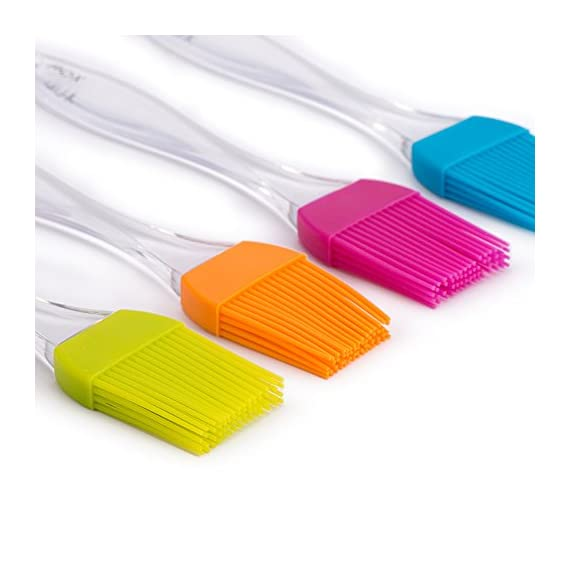 X-Chef Silicone Basting Pastry Brushes for Cooking Baking BBQ, Kitchen Brush for Food Butter Grilling Sauce, Heatproof… 4 4 VIBRANT COLOR: The X-Chef baking brush set includes blue, green, orange and pink. Different color can avoid flavor crossing, making grilling an easy and enjoyable experience! 100% FOOD GRADE SILICONE: X-chef basting brush set is made from food grade and BPA free silicone. No more bristle shed on food and their lifetime can be extended with simple handwash. 446°F HEAT RESISTANT: X-Chef BBQ and pastry brushes can withstand up to 446 °F/ 230 ℃ from oven or grilling. They won't deform, stain or stink even under high temperatures.