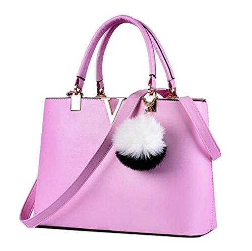 YAANCUN Womens Handmade Leather Handbag Urban Style Messenger Bags Satchel Tote Purple