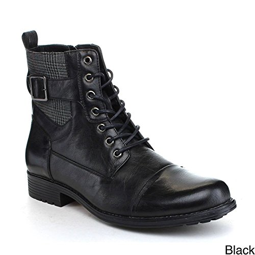 Arider Men's Bull-3 High-Top Lace Up Side Zipper Ankle Booties Casual Shoes Black 9.5
