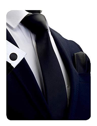 Silk Classic Cufflinks - GUSLESON Brand Mens Classic Solid Silk Deep Black Tie Necktie and Pocket Square Cufflinks Sets (0789-12)